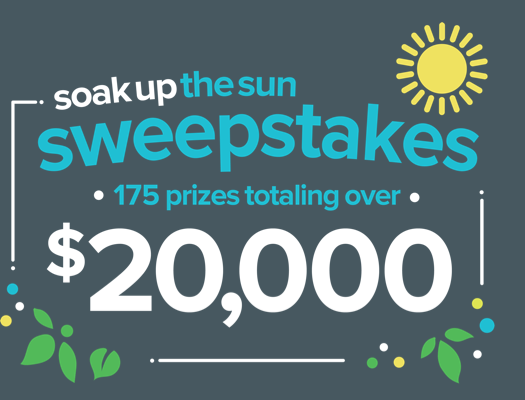 Soak Up The Sun Sweepstakes: 175 prizes totalling over $20,000
